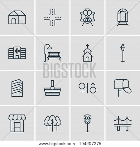 Vector Illustration Of 16 Public Icons. Editable Pack Of Semaphore, Lamppost, Awning And Other Elements.