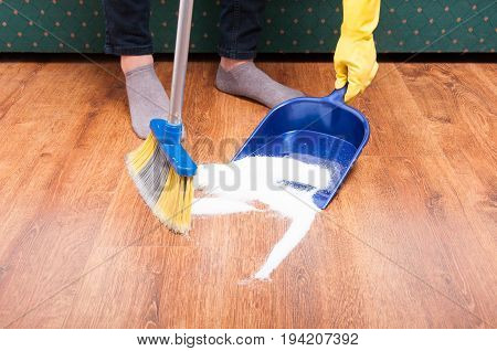 Housekeeping Lady Cleaning The Mess From The Floom