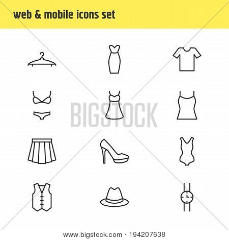 Vector Illustration Of 12 Clothes Icons. Editable Pack Of Evening Dress, Swimsuit, Hand Clock Elements.