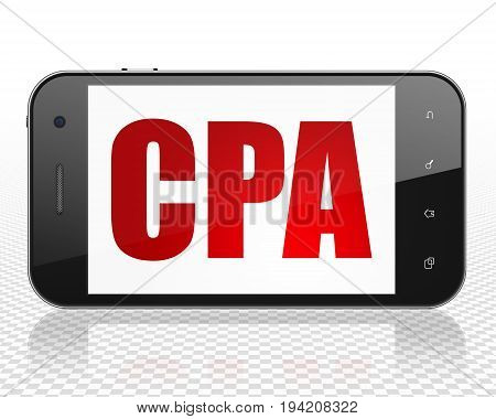 Business concept: Smartphone with red text CPA on display, 3D rendering