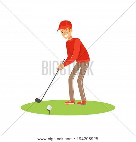 Golf player in a red pullover and cap taking a swing vector Illustration isolated on a white background