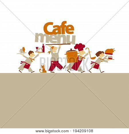 cafe stuff caring food and drinks. simple flat header. vector illustration on on white background
