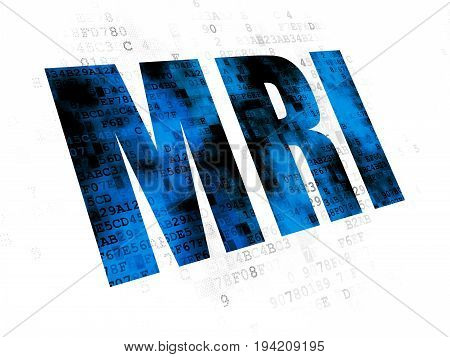 Healthcare concept: Pixelated blue text MRI on Digital background