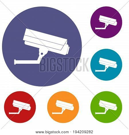 Surveillance camera icons set in flat circle reb, blue and green color for web