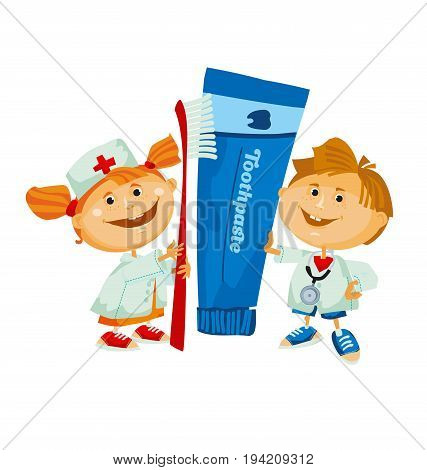 dentist cute kid with big toothpaste and toothbrush. vector illustration
