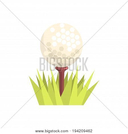 Golf ball on a tee tee in green grass, golf sport equipment cartoon vector Illustration isolated on a white background