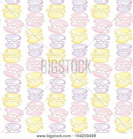 pale color macaroon cake seamless pattern on white background. vector illustration