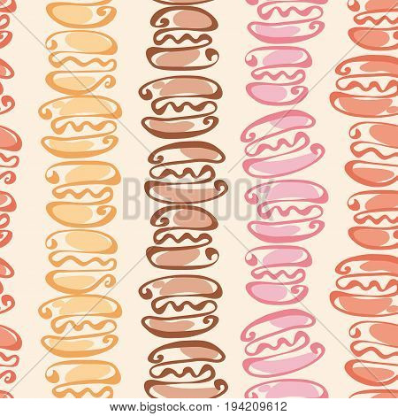 rosy and chocolate  color macaron seamless pattern on beige craft background. vector illustration