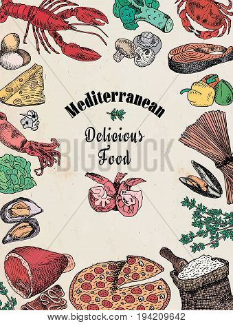 delicious mediterranean food, broccoli, calamari, cheese, crab, eggs, fish, flour, garlic, lettuce, lobster, mushroom, mussels, pepper, pizza, prawn, shell, shrimp, spaghetti, squid