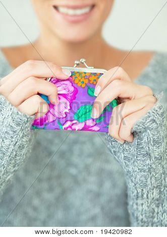 Female hands holding smiling a money pocket wallet