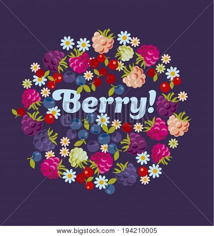 assorted forest red berry set. vector illustration.