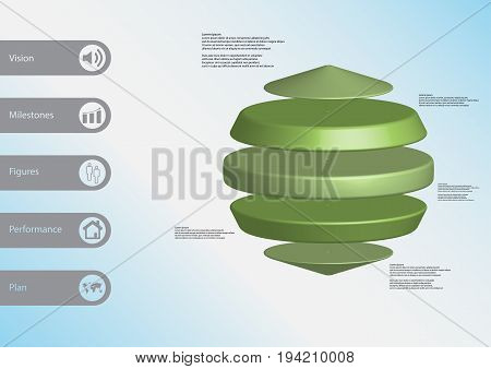 3D Illustration Infographic Template With Three Cylinders Between Two Cones Horizontally Arranged