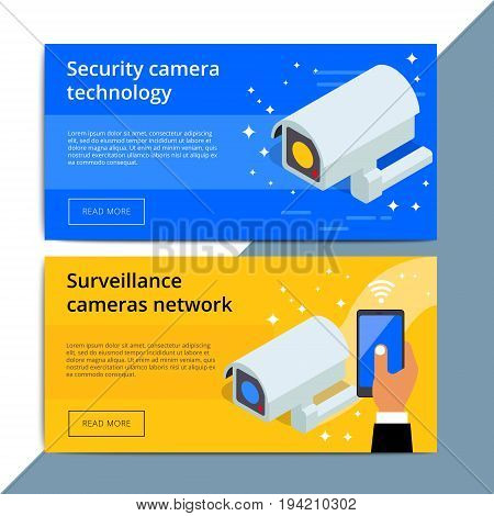 Security Camera Promo Web Banner Ad. Video Surveillance Equipment Promotion Advertisement Layout. Cc