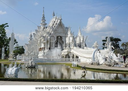 Wat Rong Khun, The White Temple Of Chiang Rai On Thailand
