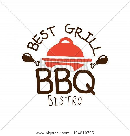 Best grill BBQ bistro logo template hand drawn colorful vector Illustration for menu, restaurant, cafe, grill bar