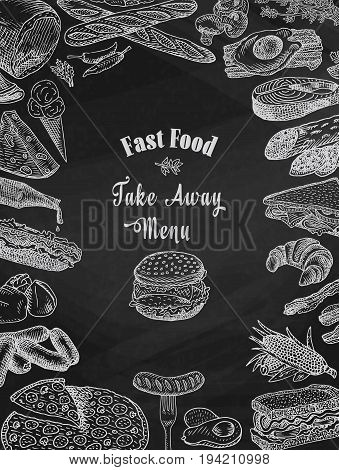 chalk american fast food, take away food, bacon, bread, burger, cheese, croissant, eggs, fish, fork, hamburger, ketchup, loaf, omelet, pepper, pizza, salami, salmon, sandwich, sausage, steak, chalkboard