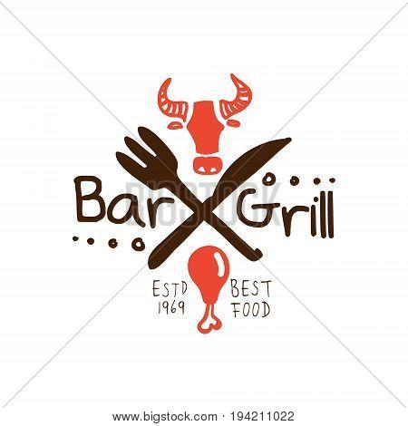Grill bar, best food estd 1969 logo template hand drawn colorful vector Illustration for menu, restaurant, cafe, bistro