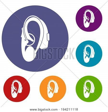 Hearing aid icons set in flat circle reb, blue and green color for web