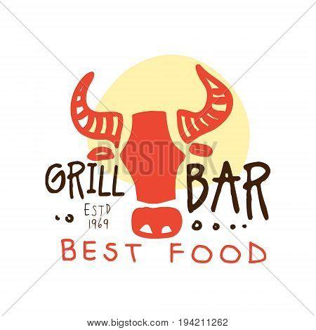 Grill bar, best food logo estd 1969 template hand drawn colorful vector Illustration for menu, restaurant, cafe, bistro