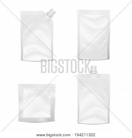 Blank Doypack Set Vector. Realistic White Doy-pack Food Or Drink Flexible Pouch. Blank Filled Retort Foil Flexible Pouch Bag Packaging. Mock Up For Product Packing Design Isolated
