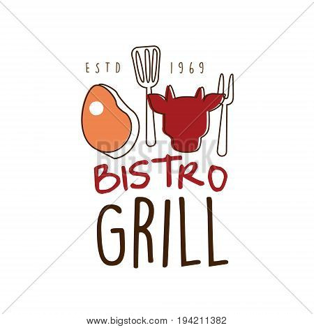 Bistro grill logo template hand drawn colorful vector Illustration for menu, restaurant, cafe, grill bar