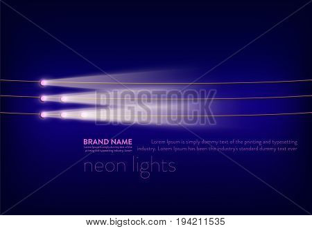 Vector illustration, abstract purple banner with neon spotlights, flashlights on the wire, light beams, rays of light. Design element for advertising poster