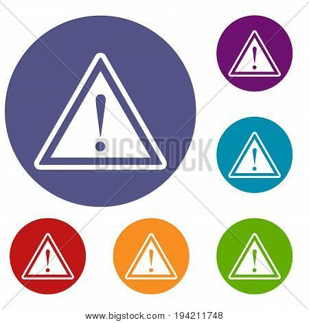 Hazard warning attention sign with exclamation mark icons set in flat circle reb, blue and green color for web
