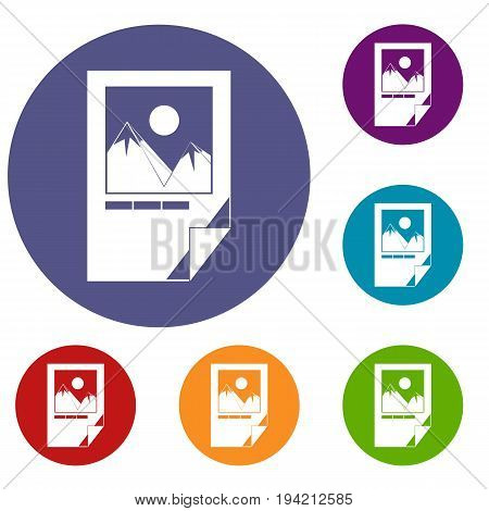 Tested ink paper with printer marks icons set in flat circle reb, blue and green color for web