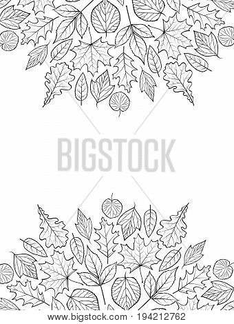 Pattern with autumn leaves.Autumn background. Coloring page for children and adult.Vector illustration.