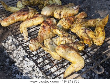 Chicken legs and wings baked on the grill.