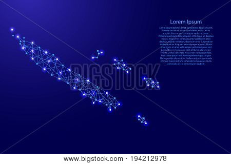 Map of New Caledonia from polygonal blue lines and glowing stars vector illustration