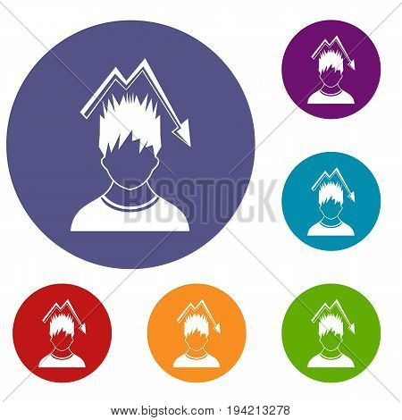 Man with falling red graph over head icons set in flat circle reb, blue and green color for web