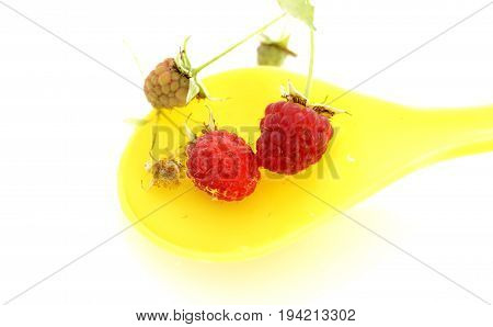 Ripe Raspberry In A Plastic Spoon Filled With Water