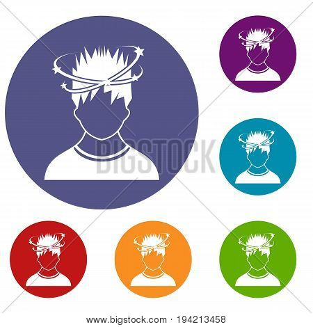 Man with dizziness icons set in flat circle reb, blue and green color for web