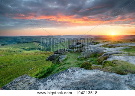 Dramatic Sunset Over Higger Tor