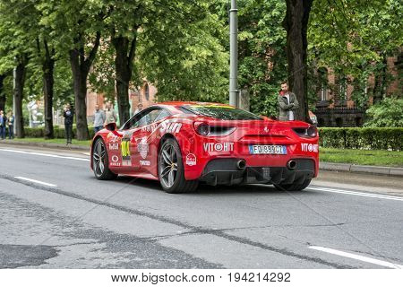 Riga, LV - JULY 2, 2017: Gumball 3000 Race Car 104