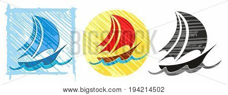 Logo of sailing vessels in the sea.