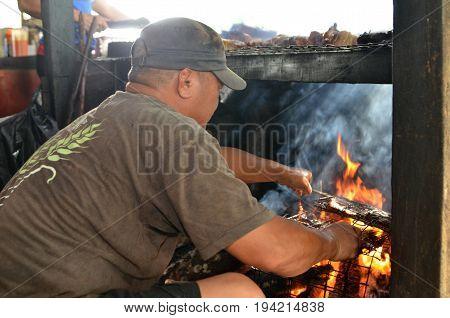 Selling Of Sinalau Bakas Or Smoked Wild Boar