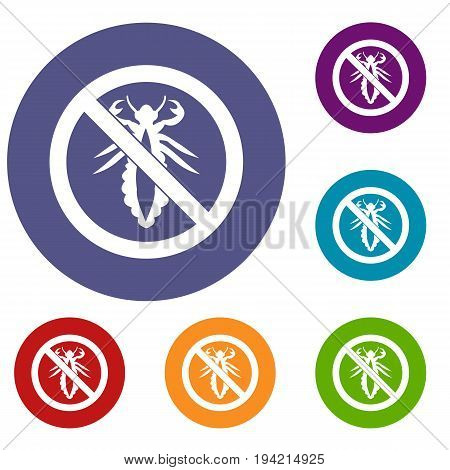 No louse sign icons set in flat circle reb, blue and green color for web