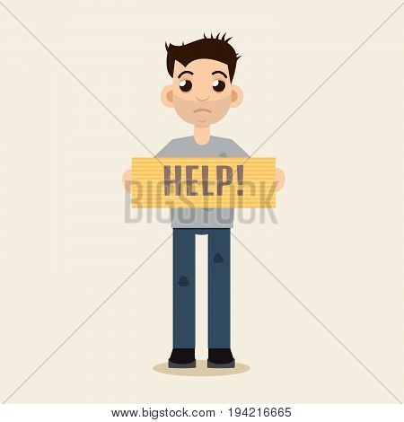 Poor Beggar, homeless, dirty man, vector illustration