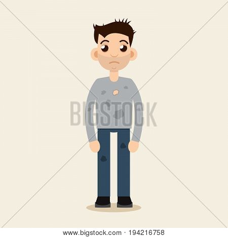 Poor Beggar, homeless, dirty, man vector illustration