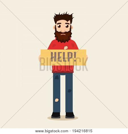 Poor Beggar, man, help, homeless, vector illustration