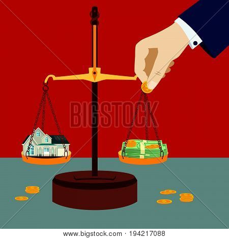 Scale weighing money and house. Financial concept.