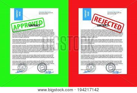 Rejected paper document, red rejected stamp and approved paper document, green approved stamp.