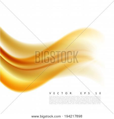 Vector illustration of an abstract orange wavy background, smooth layered transparent yellow-orange wave, line with light effect. Design element