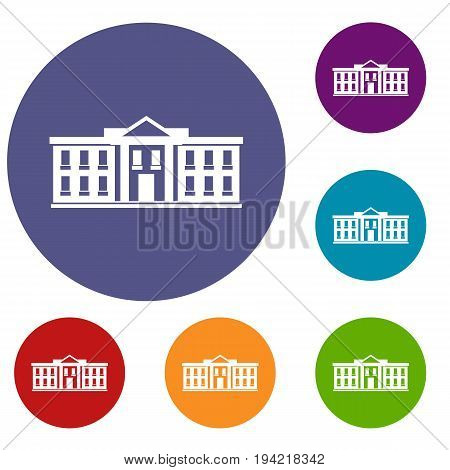 White house USA icons set in flat circle reb, blue and green color for web