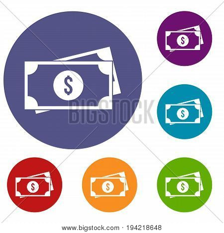 American dollars icons set in flat circle reb, blue and green color for web