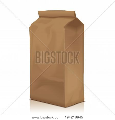 Paper Food Bag Package Of Coffee, Flour, Sugar, Pepper, Snacks Or for Takeaway food. Vector Mockup Template For Product Pack for your design