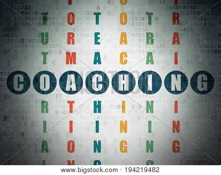 Learning concept: Painted blue word Coaching in solving Crossword Puzzle on Digital Data Paper background