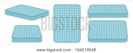 Comfortable mattress for sleeping in different position. Vector illustration.